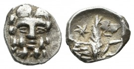 Cilicia. Uncertain, circa 400-300 BC. AR Obol (10mm, 0.63g). Facing head of Herakles, with club / Forepart of wolf right; star above. Göktürk 68-9; SN...