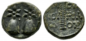 Colchis. Dioscurias, circa 200 BC. AE (17mm, 5.33g). Caps of the Dioscuri surmounted by stars / ?IO?KOYPIA?O?. Thyrsos. SNG Stancomb 638.