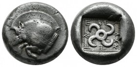 Dynasts of Lycia, Teththiveibi. Circa 450-430/20 BC. AR Stater (18mm, 8.43g). Forepart of a boar left / Tetraskeles within pelleted square border with...
