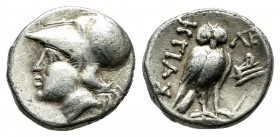 Ionia, Lebedos. Ca. 330-294 BC. AR Hemidrachm (11mm, 1.44g). Hegias magistrate. Helmeted head of Athena left / ΛΕ / ΗΓΙΑΣ. Owl standing left, head fac...