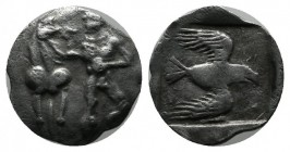 Ionia, Magnesia ad Maeandrum. Themistokles(?). Circa 465-459 BC. AR Obol (12mm, 0.79g). Male figure standing left extending right arm to a horse stand...