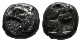 Ionia, Phocaia. circa 525-480 BC. AR Dibol (9mm, 1.53g). Head of griffin left / Incuse square. Traité pl. XIII,14. SNG Keckman 300.