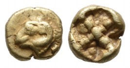 Ionia, Phokaia. Circa 625-522 BC. EL 1/24 Stater (7mm, 0.60g). Head of ram to left / Quadripartite incuse square. Bodenstedt 20 (unlisted dies); SNG v...
