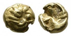 Ionia, Phokaia. Circa 625-522 BC. EL 1/48 Stater (6mm, 0.60g). Figural type. Head of ram right / Incuse square punch. Bodenstedt 20.