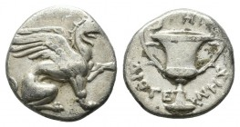 Ionia, Teos. Circa 370-340 BC. AR Hemidrachm (11mm, 1.48g). Diogenes, magistrate. Griffin seated right, left paw raised / Kantharos; THI above, ΔIOΓE-...