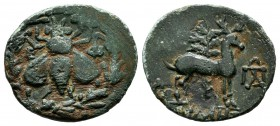Ionia. Ephesos, circa 202-133 BC. Apollonios, magistrate. AE (18mm, 2.27g). Ε - Φ. Bee within wreath / ΑΠΟΛΛΩΝΙΟΣ. Stag standing right; in background,...