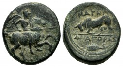 Ionia. Magnesia ad Maeandrum. Circa 300 BC. AE (15mm, 3.88g). Diagoras, magistrate. Horseman galloping right, holding spear / MAΓΝ / ΔΙΑΓΟΡΑΣ. Bull bu...