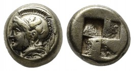 Ionia. Phokaia, circa 478-387 BC. EL Hekte (10mm, 2.55g). Head of Athena left, wearing crested Attic helmet decorated with griffin; below, seal left /...