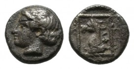 Ionia. Phokaia. Circa 420-380 BC. AR Hemiobol (7mm, 0.33g). Head of Apollo left / Head of griffin left within linear square. SNG Copenhagen 1033 var.