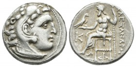 King Of Macedon, Kolophon. Antigonos I Monophthalmos 320-301 BC. In the name and types of Alexander III, struck circa 310-301 BC. AR Drachm (18mm, 4.2...
