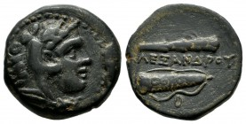Kings Of Macedon. Alexander III 'the Great' (336-323 BC). AE (18mm, 5.98g). Uncertain mint, possibly Amphipolis. Head of Herakles right, wearing lion ...
