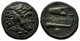 Kings Of Macedon. Alexander III the Great. 336-323 BC. AE 19 (18mm, 5.59g). Maedonian mint, ca. 335-323 B.C. - lifetime issue Head of Alexander as you...