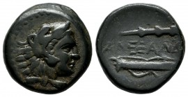 Kings Of Macedon. Alexander III The Great. 336-323 BC. AE unit (18mm, 6.83g). uncertain Macedonian mint, struck 336-323 B.C. - lifetime issue Head of ...