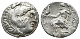 Kings Of Macedon. Alexander III 'the Great'. 336-323 BC. AR Drachm (17mm, 4.19g). Miletos mint, ca. 325-323 BC. Head of Herakles right, wearing lion's...