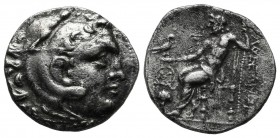 Kings Of Macedon. Alexander III. 336-323 BC. AR Drachm (18mm, 3.88g). Chios mint. Struck circa 290-275 BC. Head of Herakles right, wearing lion's skin...