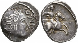 CELTIC, Southern Gaul. Allobroges. Circa 61-40 BC. Quinarius (Silver, 15 mm, 1.96 g, 6 h), Durnacos. [DV]RNACOS Head ot Athena to right, wearing winge...