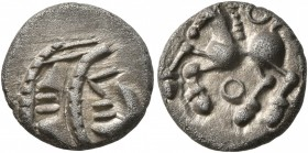 CELTIC, Central Gaul. Aedui. Circa 80-50 BC. Quinarius (Silver, 13 mm, 1.67 g, 3 h). Jugate stylized male heads to left, the lips formed out of straig...