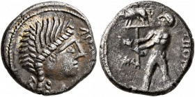 CELTIC, Central Gaul. Aedui. 50-30 BC. Quinarius (Silver, 13 mm, 1.89 g, 3 h), Dubnocoveros and Dubnorex. D[VBNO]COV Female head to right. Rev. [DVB]N...