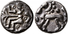 CELTIC, Northeast Gaul. Treveri. Mid 1st century BC. Quinarius (Silver, 11 mm, 1.63 g, 4 h), 'Marberg' type. Male figure seated to left, with tree to ...