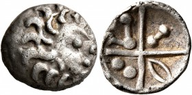 CELTIC, Central Europe. Vindelici. Early 1st century BC. Quinarius (Silver, 15 mm, 1.81 g), 'Kreuzquinar', 'Schönaich II' type. Celticized male h...