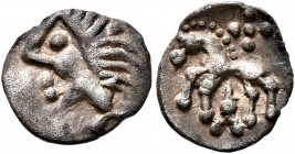 CELTIC, Central Europe. Vindelici. 1st century BC. 1/4 Quinar (Silver, 10 mm, 0.37 g, 11 h), 'Manching II' type. Male head to left with spiky hair. Re...