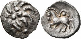 CELTIC, Central Europe. Vindelici. Mid 1st century BC. Quinarius (Silver, 15 mm, 1.83 g), 'Büschelquinar' type. Head devolved into a bush. Rev. H...