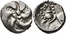 CELTIC, Central Europe. Vindelici. Mid 1st century BC. Quinarius (Silver, 14 mm, 1.89 g), 'Büschelquinar' type. Head devolved into a bush. Rev. H...