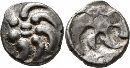 CELTIC, Central Europe. Vindelici. Mid 1st century BC. Quinarius (Silver, 13 mm, 1.93 g), 'Büschelquinar' type, brockage strike. Head devolved in...