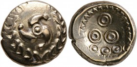 CELTIC, Central Europe. Uncertain tribe. Early 1st century BC. Stater (Electrum, 16 mm, 6.74 g, 12 h), 'Mardorf' type. Triskeles within a wreath forme...