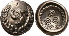 CELTIC, Central Europe. Uncertain tribe. Early 1st century BC. Stater (Electrum, 17 mm, 6.06 g, 12 h), 'Mardorf' type. Triskeles within a wreath forme...