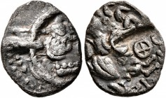 CELTIC, Central Europe. Uncertain tribe. 1st century BC. Quinarius (Silver, 15 mm, 1.76 g, 12 h), 'Steg-Rinnenprägung' type. Back of a human head...