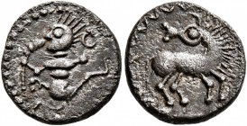 CELTIC, Central Europe. Uncertain tribe. Mid to late 1st century BC. Quinarius (Silver, 13 mm, 1.70 g, 1 h), 'Tanzendes Männlein' type. Male figu...