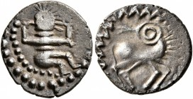 CELTIC, Central Europe. Uncertain tribe. Mid to late 1st century BC. Quinarius (Silver, 14 mm, 1.46 g, 9 h), 'Hockendes Männlein' type. Male figu...