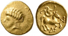 CELTIC, Central Europe. Boii. 2nd century BC. 1/24 Stater (Gold, 6 mm, 0.35 g, 1 h). Male head to left. Rev. Horse prancing right with three-whirled o...