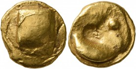 CELTIC, Central Europe. Boii. Late 2nd-early 1st century BC. Stater (Gold, 15 mm, 7.34 g), 'Muschelstater' type. Large irregular bulge. Rev. Crescent-...