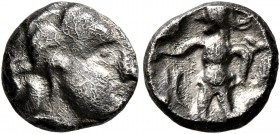 CELTIC, Central Europe. Boii. 1st century BC. Obol (Silver, 9 mm, 0.91 g, 7 h), Athena-Alkis-series. Male head to right. Rev. Athena Alkis standing le...