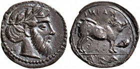 SICILY. Abakainon. Circa 430-420 BC. Litra (Silver, 12 mm, 0.56 g, 5 h). Laureate and bearded male head to right. Rev. ABA / KAINI Sow standing right;...