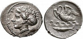 SICILY. Kamarina. Circa 410-405 BC. Litra (Silver, 13 mm, 0.93 g, 1 h). ΚΑΜΑΡΙΝΑ Head of the nymph Kamarina to left, wearing sphendone decorated with ...