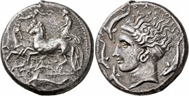 SICILY. Syracuse. Dionysios I , 405-367 BC. Tetradrachm (Silver, 26 mm, 16.82 g, 1 h), unsigned dies in the style of Eukleidas, circa 405-400. Chariot...