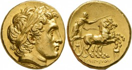 KINGS OF MACEDON. Philip II, 359-336 BC. Stater (Gold, 18 mm, 8.68 g, 12 h), Kolophon, struck under Philip III by Menander or Kleitos, circa 322-319. ...