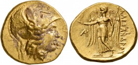 KINGS OF MACEDON. Alexander III 'the Great', 336-323 BC. Stater (Gold, 18 mm, 8.55 g, 1 h), Arados, struck under Menes, circa 325/4-324/3 BC. Head of ...