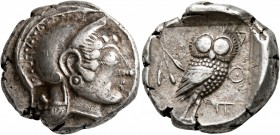 ATTICA. Athens. Circa 500/490-485/0 BC. Tetradrachm (Silver, 22 mm, 17.15 g, 7 h). Head of Athena to right, wearing crested Attic helmet and circular ...