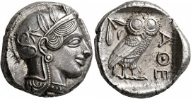 ATTICA. Athens. Circa 430s-420s BC. Tetradrachm (Silver, 23 mm, 17.13 g, 1 h). Head of Athena to right, wearing crested Attic helmet decorated with th...