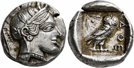ATTICA. Athens. Circa 430s-420s BC. Drachm (Silver, 15 mm, 4.25 g, 12 h). Head of Athena to right, wearing crested Attic helmet decorated with three o...