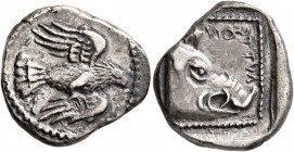 CRETE. Lyttos. Circa 320-270 BC. Drachm (Silver, 19 mm, 5.95 g, 9 h). Eagle flying right. Rev. ΛYTTS-ON Head of a boar to right; all within square of ...