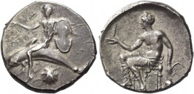 Calabria, Tarentum. Nomos circa 470-425, AR 7.83 g. Phalantus on dolphin l., r. arm outstretched, holding Boeotian shield; beneath, cockle-shell. Rev....