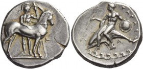 Calabria, Tarentum. Nomos circa 344-340, AR 7.86 g. Ephebos, naked but for helmet, carrying long spear and large round shield, standing to front behin...