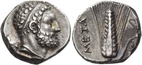 Lucania, Metapontum. Nomos circa 290-280, AR 7.91 g. Diademed head of Heracles r., lion's skin tied around neck and club over l. shoulder. Rev. META E...