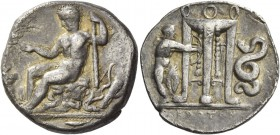 Croton. Nomos circa 420, AR 7.72 g. OIKIM[TAM] Young Heracles seated l. on rocks, holding filleted branch and club; behind, bow and quiver. In l. fiel...