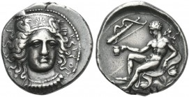 Croton. Nomos circa 400-325, AR 7.91 g. K – P – O – T – [O] Head of Hera Lakinia facing three-quarters r., wearing pendant necklace and stephane decor...
